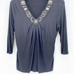 August Silk Options Embellished Blouse Black L